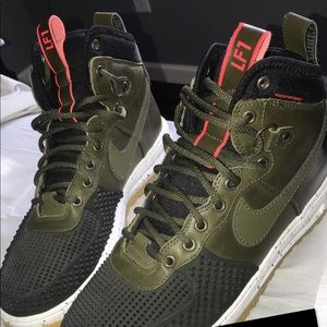 Olive black and white Nike Duck Boots